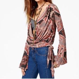 Free People Fiona paisley bell sleeve top Size XS